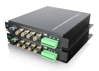 Передатчик аудио и видеосигнала оптический 4-канальный(пара), SFP